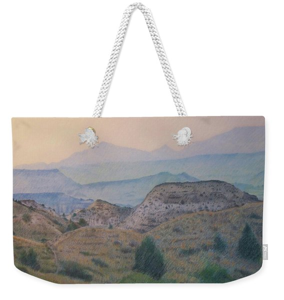Weekender Tote Bag featuring the drawing Summer In The Badlands by Cris Fulton