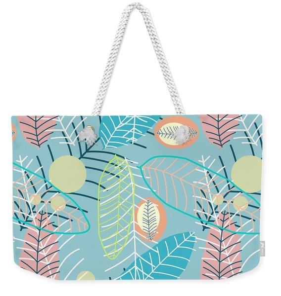 Summer Leaf In Blue  Weekender Tote Bag