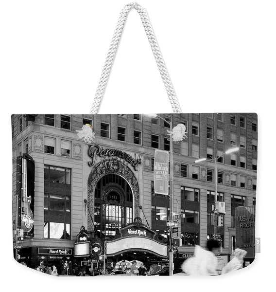 Weekender Tote Bag featuring the photograph Summer Shower, Times Square, Nyc #130559 by John Bald