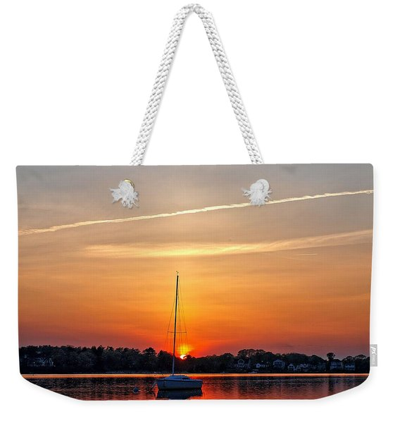 Summer Sunset At Anchor Weekender Tote Bag