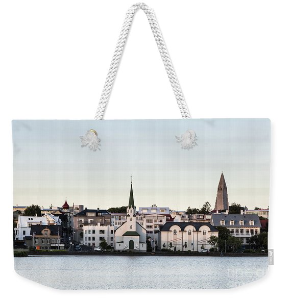 Summer Sunset Over The Reykjavik Skyline Weekender Tote Bag