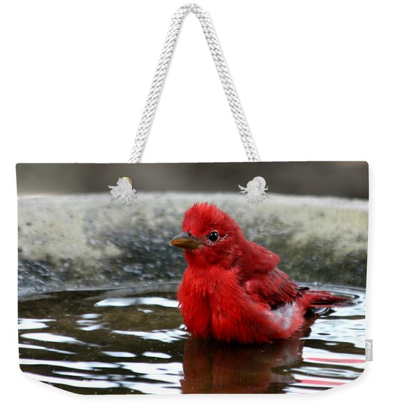 Summer Tanager In Bird Bath Weekender Tote Bag