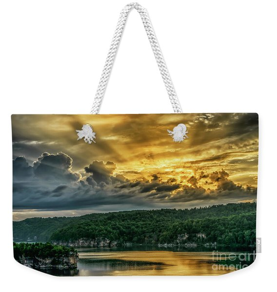 Summersville Lake Sunrise Weekender Tote Bag