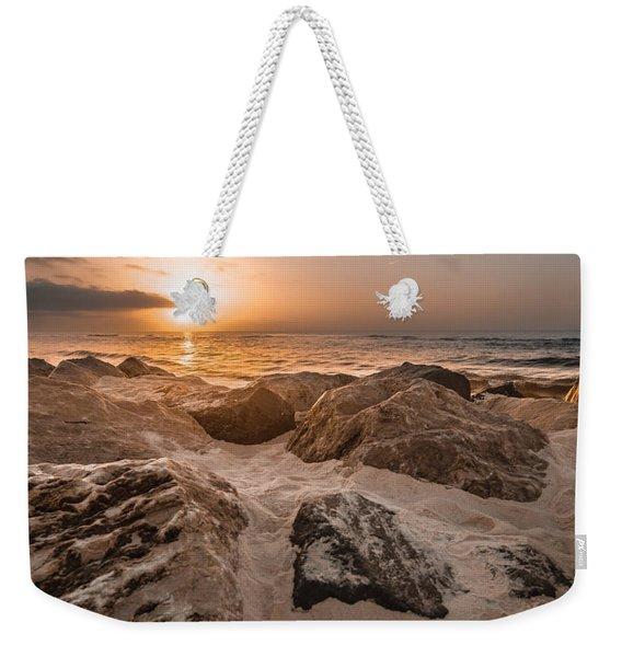 Sun Coming Over The Rocks  Weekender Tote Bag