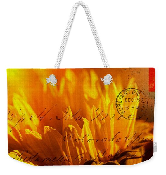 Weekender Tote Bag featuring the photograph Sun Flower Envelope by Michael Hope