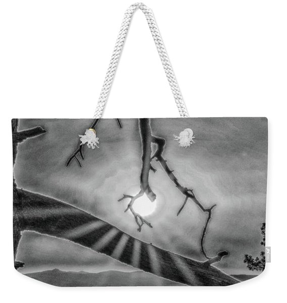 Sun Ornament - Black And White Weekender Tote Bag