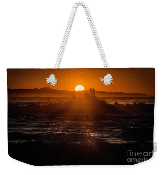 Sun Setting Behind Santa Cruz Island Weekender Tote Bag