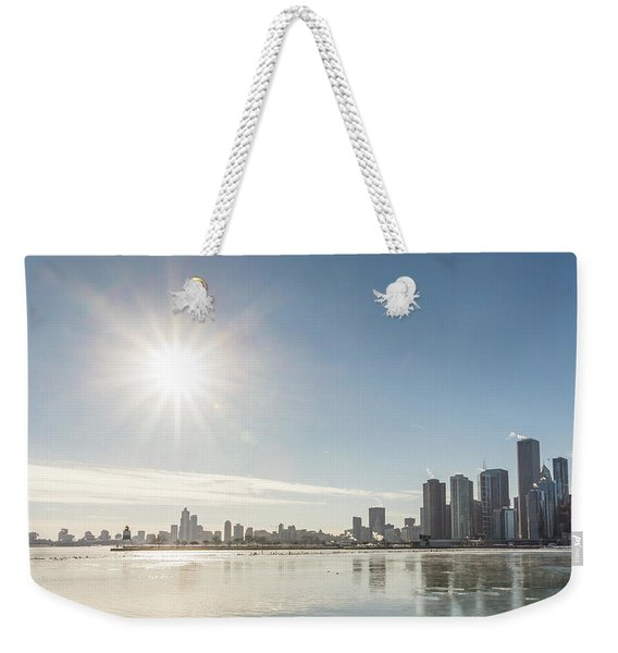 Sun Setting Over Chicago Weekender Tote Bag