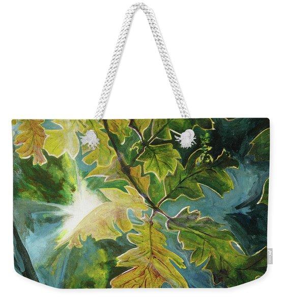 Sun Through Oak Leaves Weekender Tote Bag