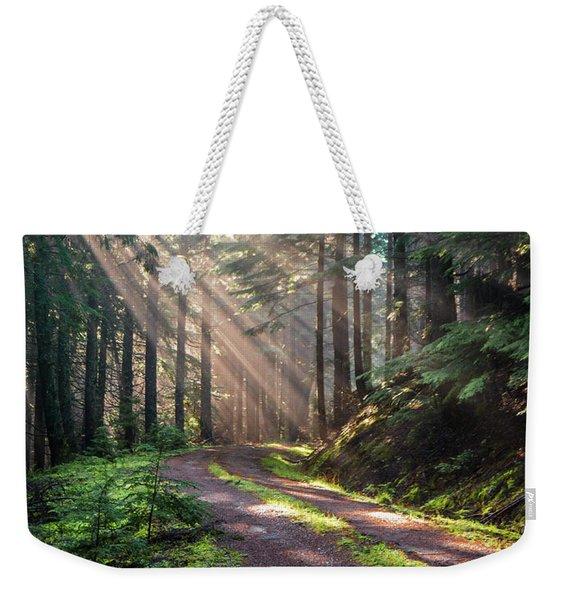 Sunbeam In Trees Portrait Weekender Tote Bag
