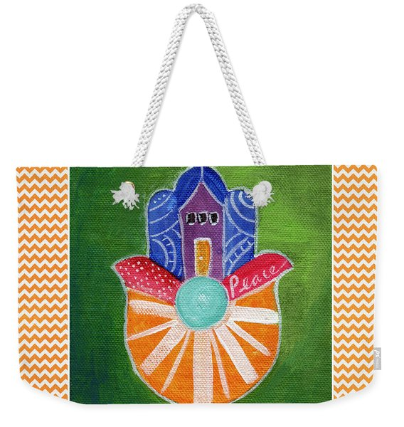 Sunburst Hamsa With Chevron Border Weekender Tote Bag