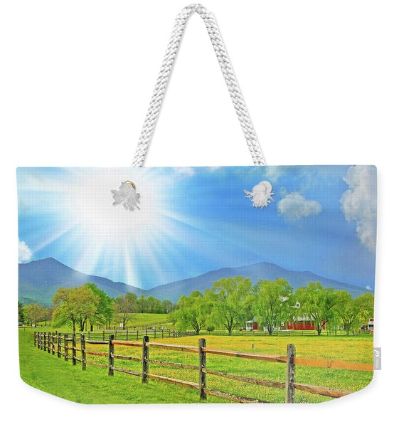Sunburst Over Peaks Of Otter, Virginia Weekender Tote Bag