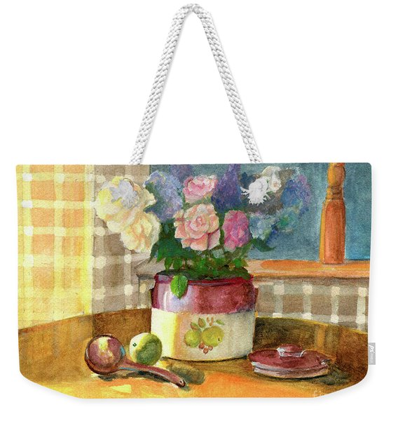 Sunday Morning And Roses-watercolor Weekender Tote Bag