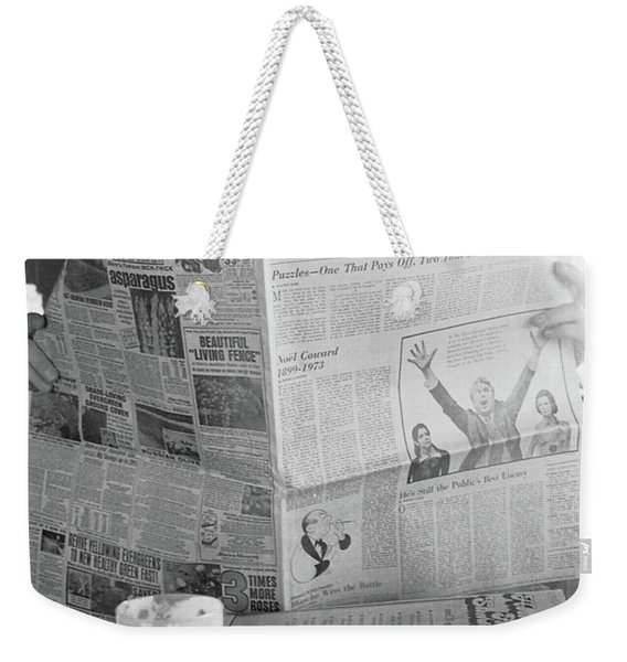 Weekender Tote Bag featuring the photograph Sunday Times And Irish Coffee by Frank DiMarco
