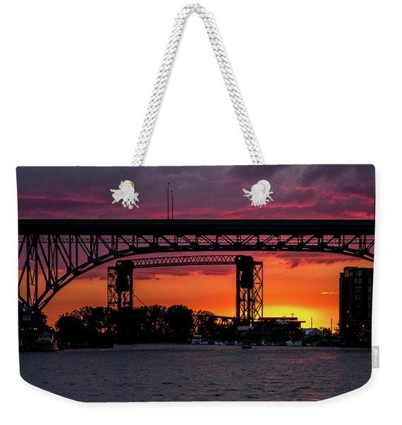 Sundown On The Cuyahoga River Weekender Tote Bag