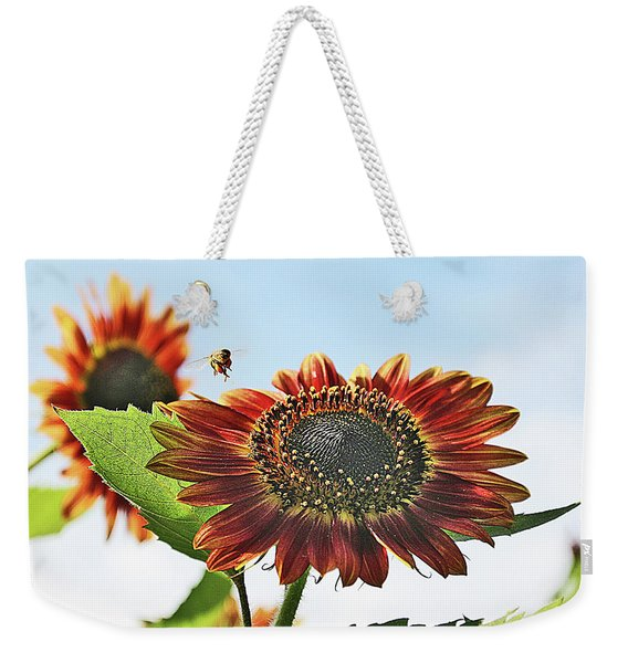 Sunflower And Bee Weekender Tote Bag
