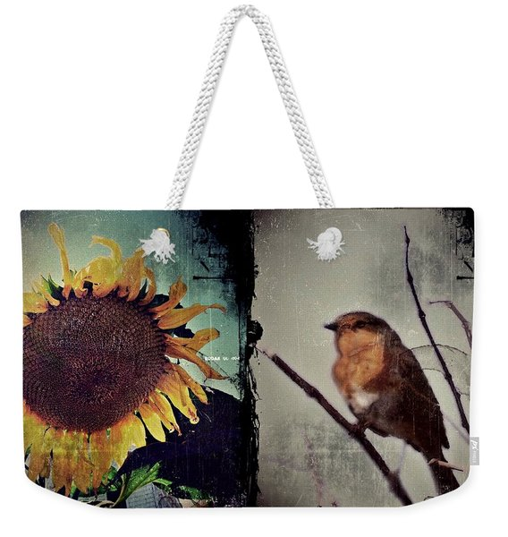 Weekender Tote Bag featuring the photograph Sunflower Bird Diptych by Patricia Strand