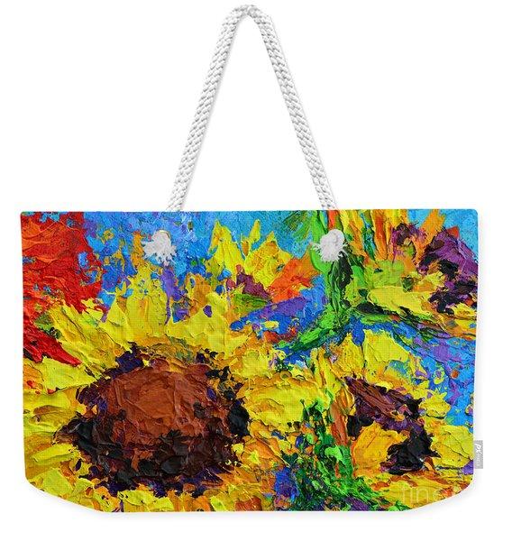 Sunflower Bunch, Modern Impressionistic Floral Still Life Palette Knife Work Weekender Tote Bag