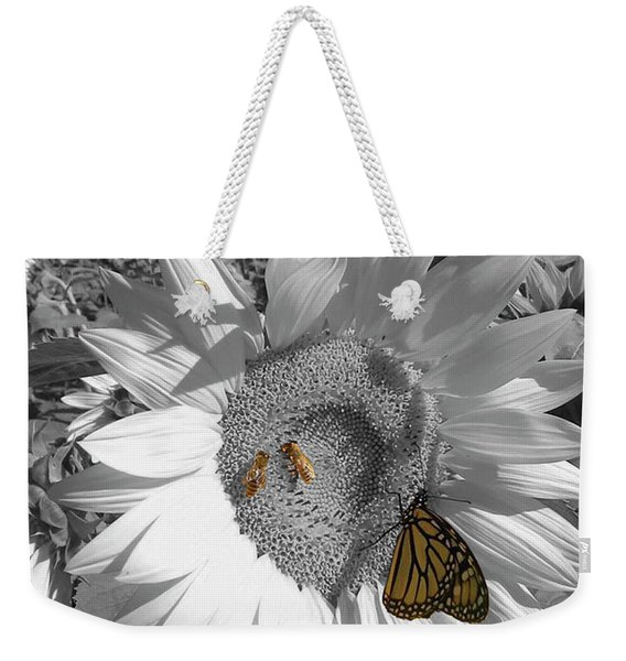 Sunflower In Black And White Weekender Tote Bag