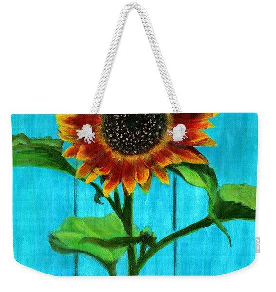 Sunflower On Blue Weekender Tote Bag