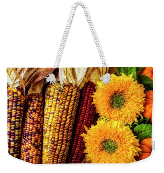 Sunflowers And Indian Corn Weekender Tote Bag