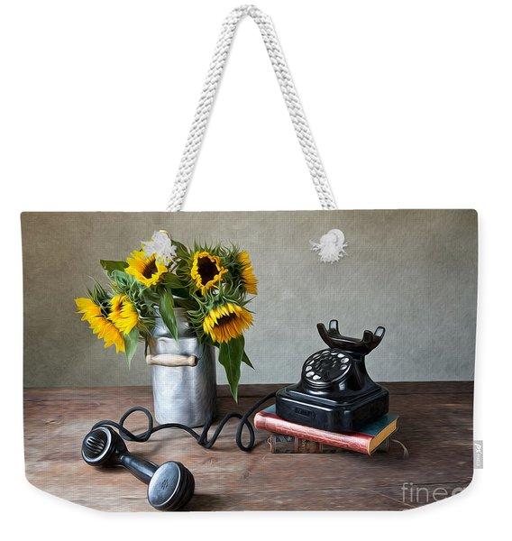 Sunflowers And Phone Weekender Tote Bag