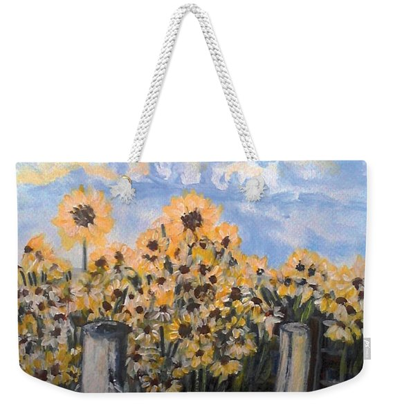 Sunflowers At Rest Stop Near Great Sand Dunes Weekender Tote Bag