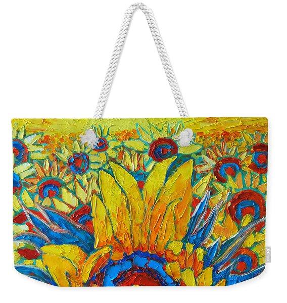 Sunflowers Field In Sunrise Light Weekender Tote Bag