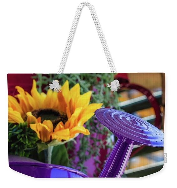 Weekender Tote Bag featuring the photograph Complementary Sunflowers by Laura Roberts