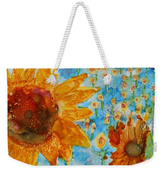 Sunflowers In Fields Weekender Tote Bag