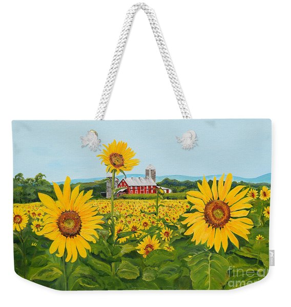 Sunflowers On Route 45 - Pennsylvania- Autumn Glow Weekender Tote Bag