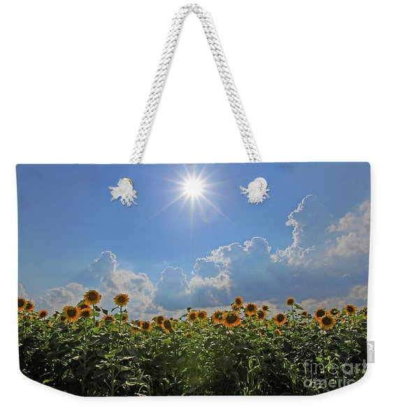 Sunflowers With Sun And Clouds 1 Weekender Tote Bag