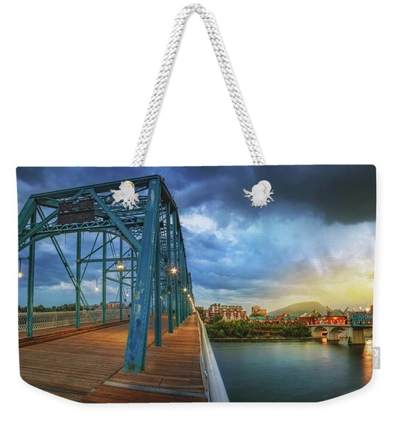Sunlight Thru Rain Over Chattanooga Weekender Tote Bag