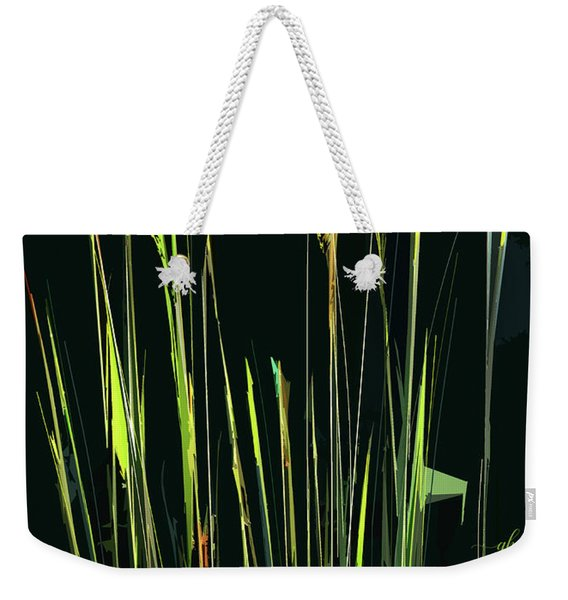 Weekender Tote Bag featuring the digital art Sunlit Grasses by Gina Harrison