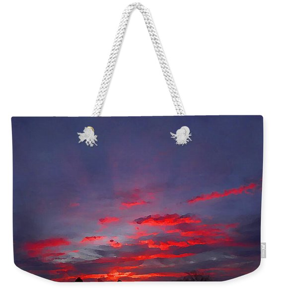 Sunrise Abstract, Red Oklahoma Morning Weekender Tote Bag