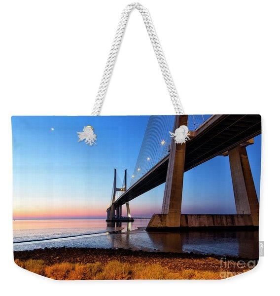 Sunrise At Lisbon, Vasco Da Gama Bridge Weekender Tote Bag
