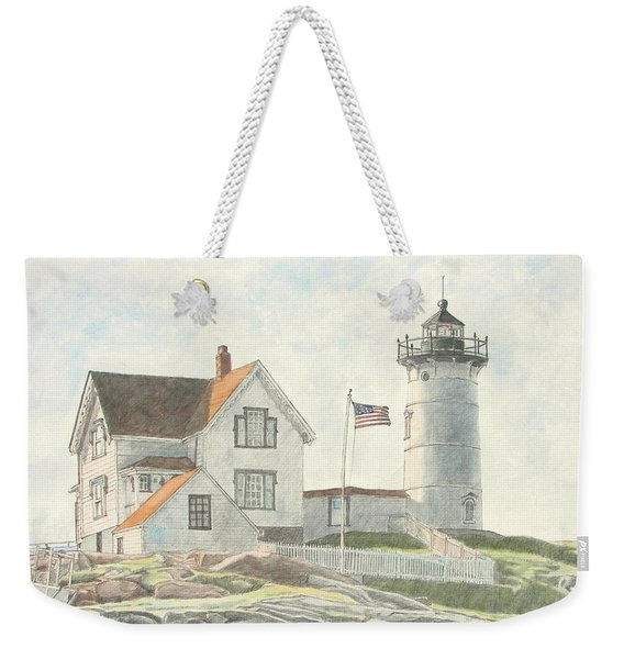 Weekender Tote Bag featuring the painting Sunrise At Nubble Light by Dominic White