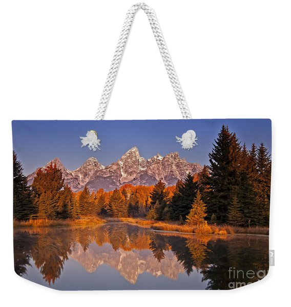 Weekender Tote Bag featuring the photograph Sunrise At Schwabacher Landing  by Sam Antonio Photography