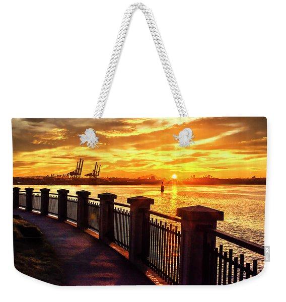 Sunrise At The Harbor Weekender Tote Bag