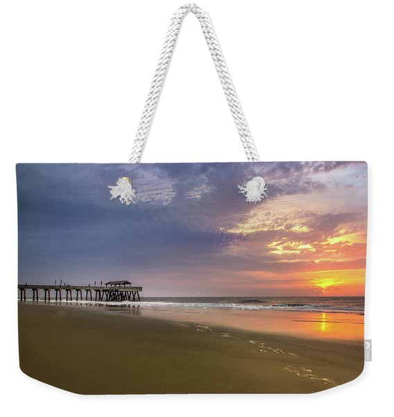 Sunrise At Tybee Island Pier Weekender Tote Bag