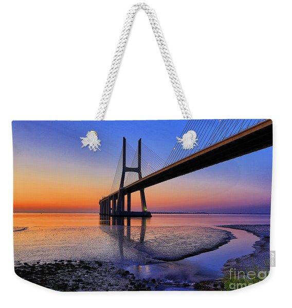 Sunrise At Vasco Da Gama Bridge Weekender Tote Bag