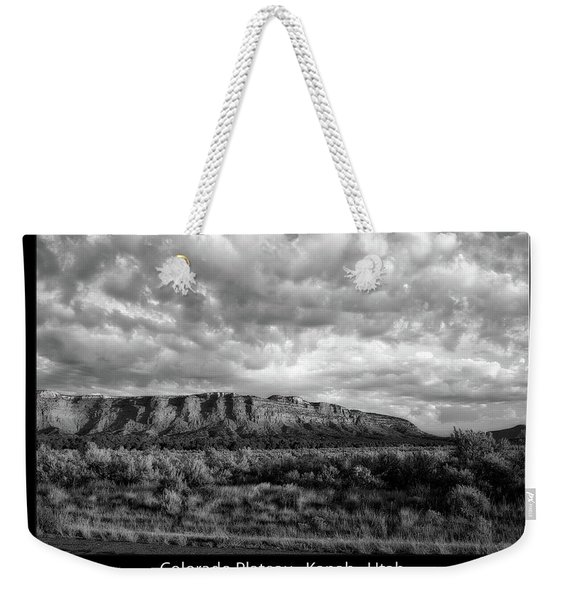 Sunrise Grand Staircase Escalante National Monument Utah Text Bw Black Weekender Tote Bag