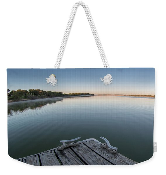 Sunrise On A Clear Morning Over Large Lake With Fog On Top, From Weekender Tote Bag