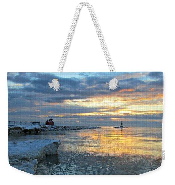 Sunrise On Ice Weekender Tote Bag