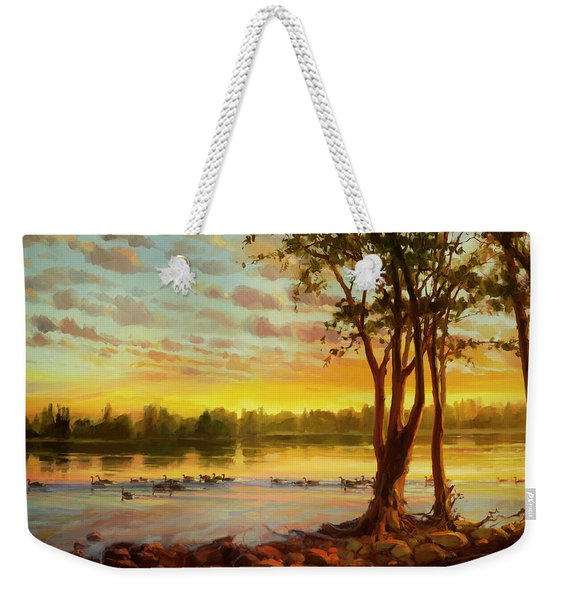 Sunrise On The Columbia Weekender Tote Bag