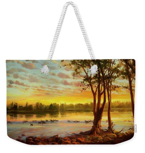 Sunrise On The Columbia Weekender Tote Bag