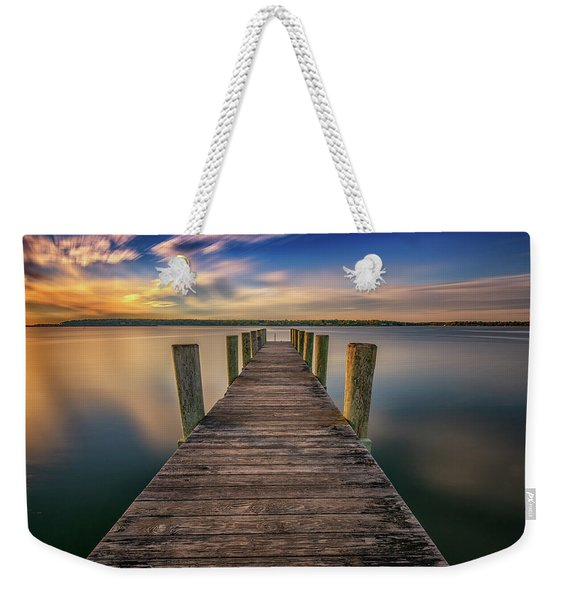 Sunrise On The Dock By The Peconic River Weekender Tote Bag