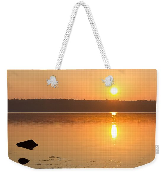 Sunrise On The Rocks Of Branch Lake - Maine Weekender Tote Bag