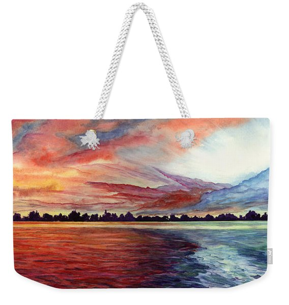 Weekender Tote Bag featuring the painting Sunrise Over Indian Lake by Nancy Cupp