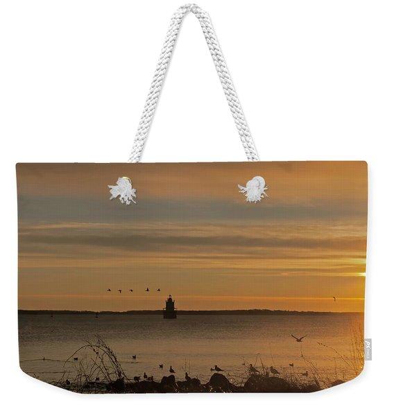 Sunrise Over New Bedford Weekender Tote Bag